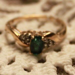Estate Kay Jewelers Emerald/Diamond Ring, Sz. 7.25